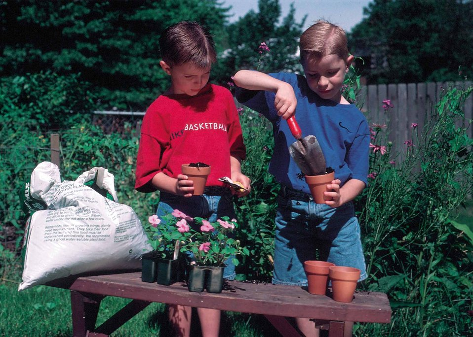 Young boys begin to learn about conservation in the back yard by planting and caring for plants in Urbandale, Iowa.