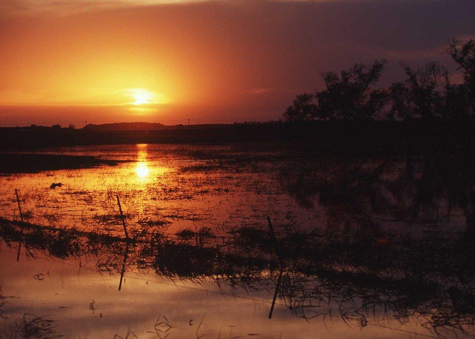 Sunset over lake in eastern South Dakota.