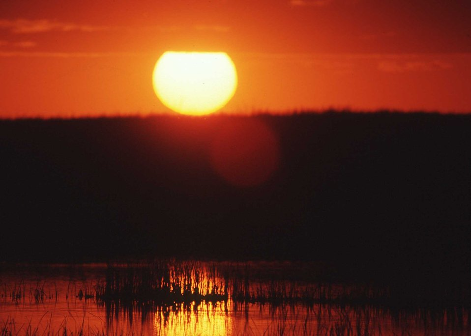 Marsh at sunset in Moody County, South Dakota.