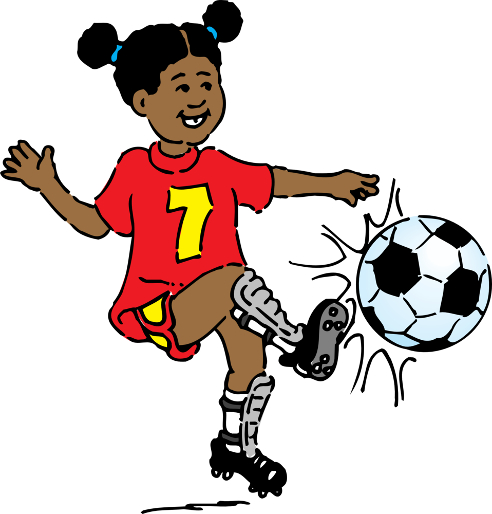 Illustration of a girl kicking a soccer ball
