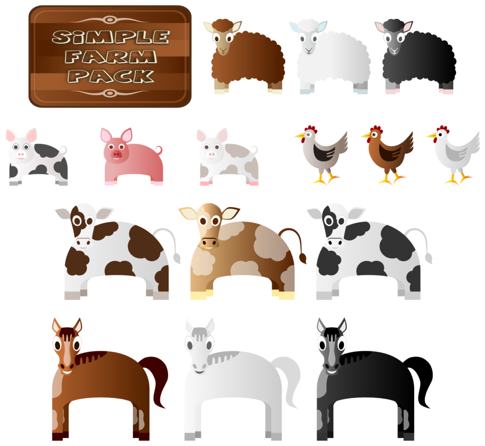 Illustration of various farm animals