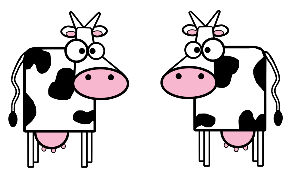 Illustration of cartoon cows
