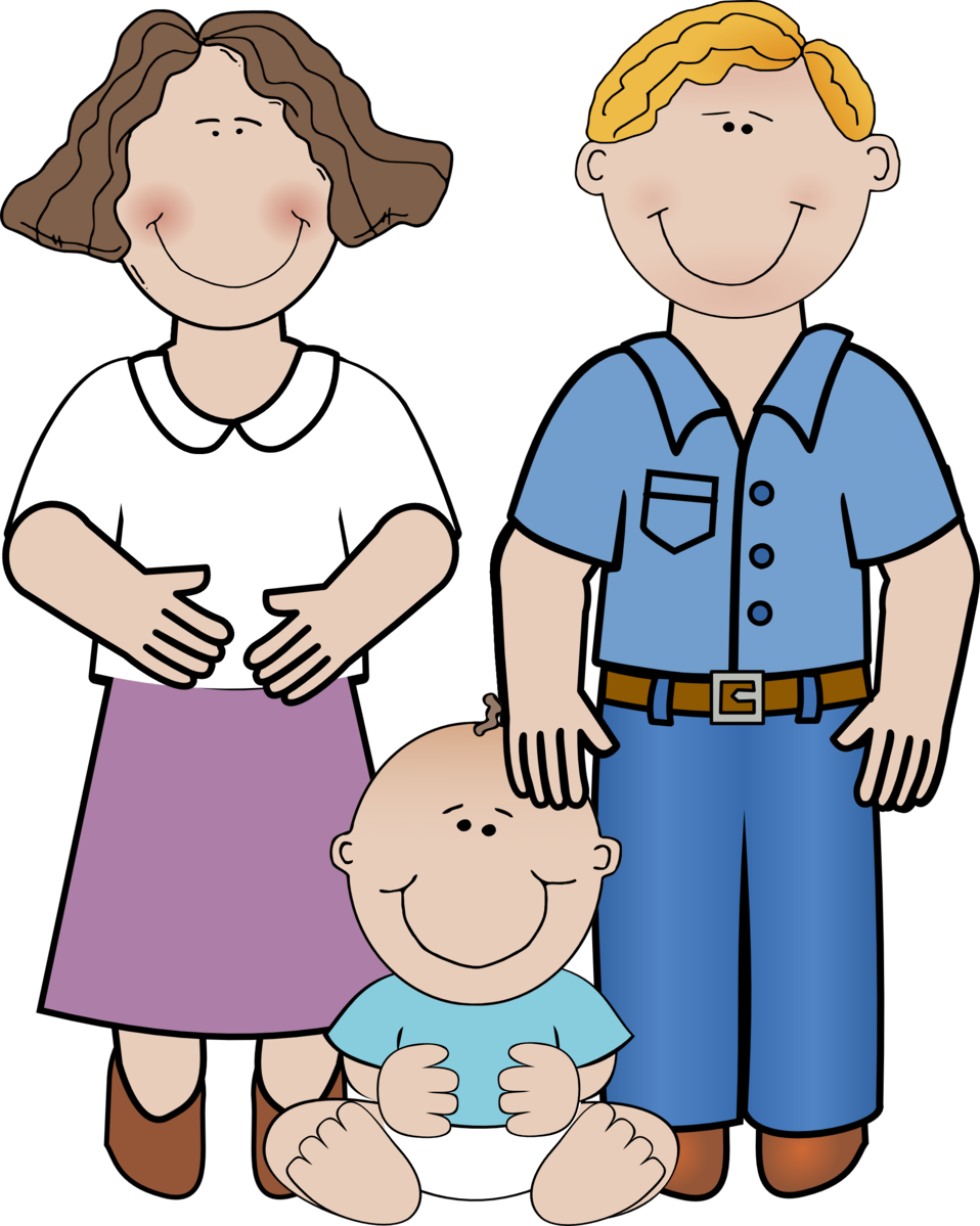 Illustration of a young happy family