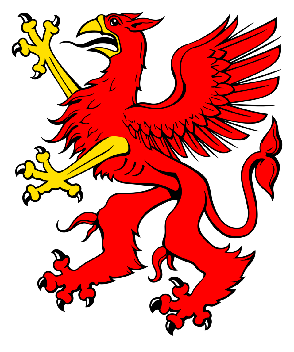 Illustration of a red griffin