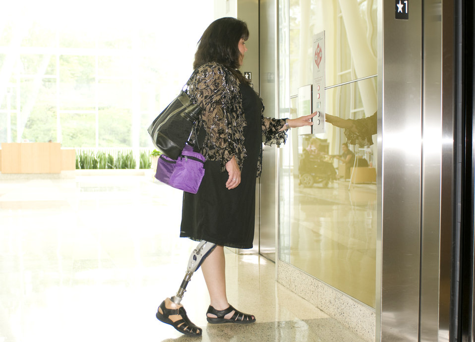 The woman pictured here was equipped with a right lower limb prosthesis, and having entered one of the Centers for Disease Control and Preve