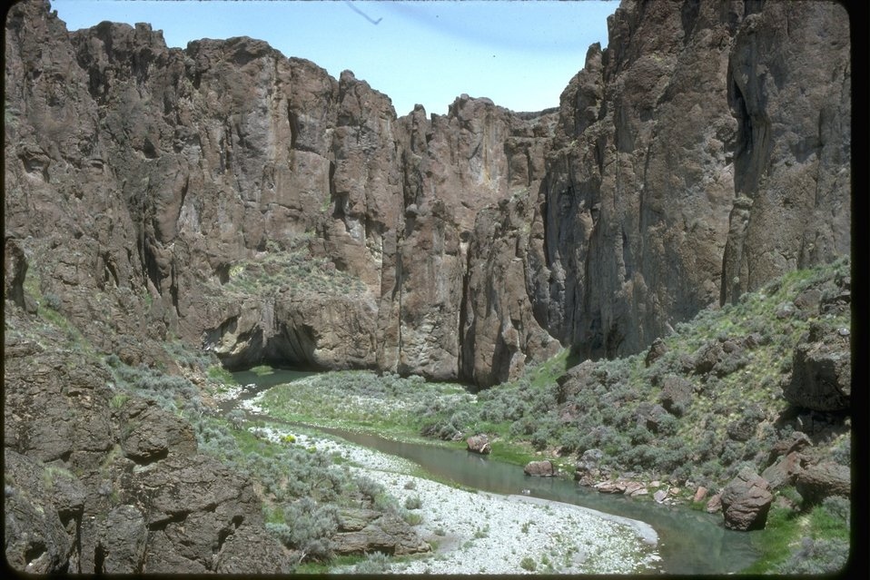 Rocky cliffs in the Upper West Little Owyhee Wilderness Study Area.  OR 3-173