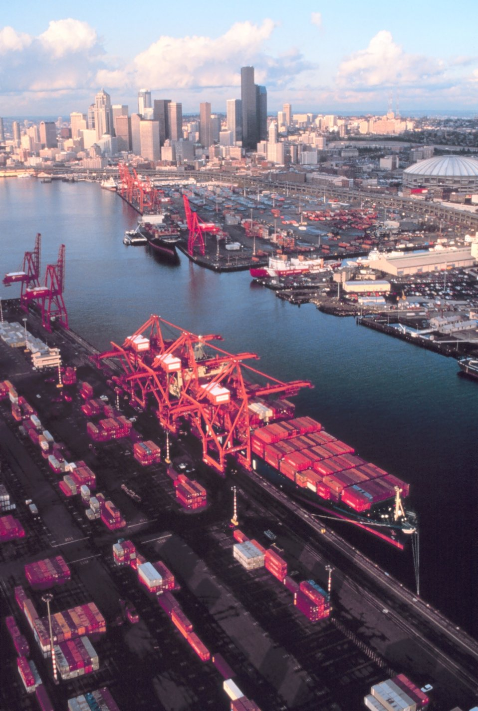 Containership piers in Seattle.  Note Coast Guard piers in right center of picture.