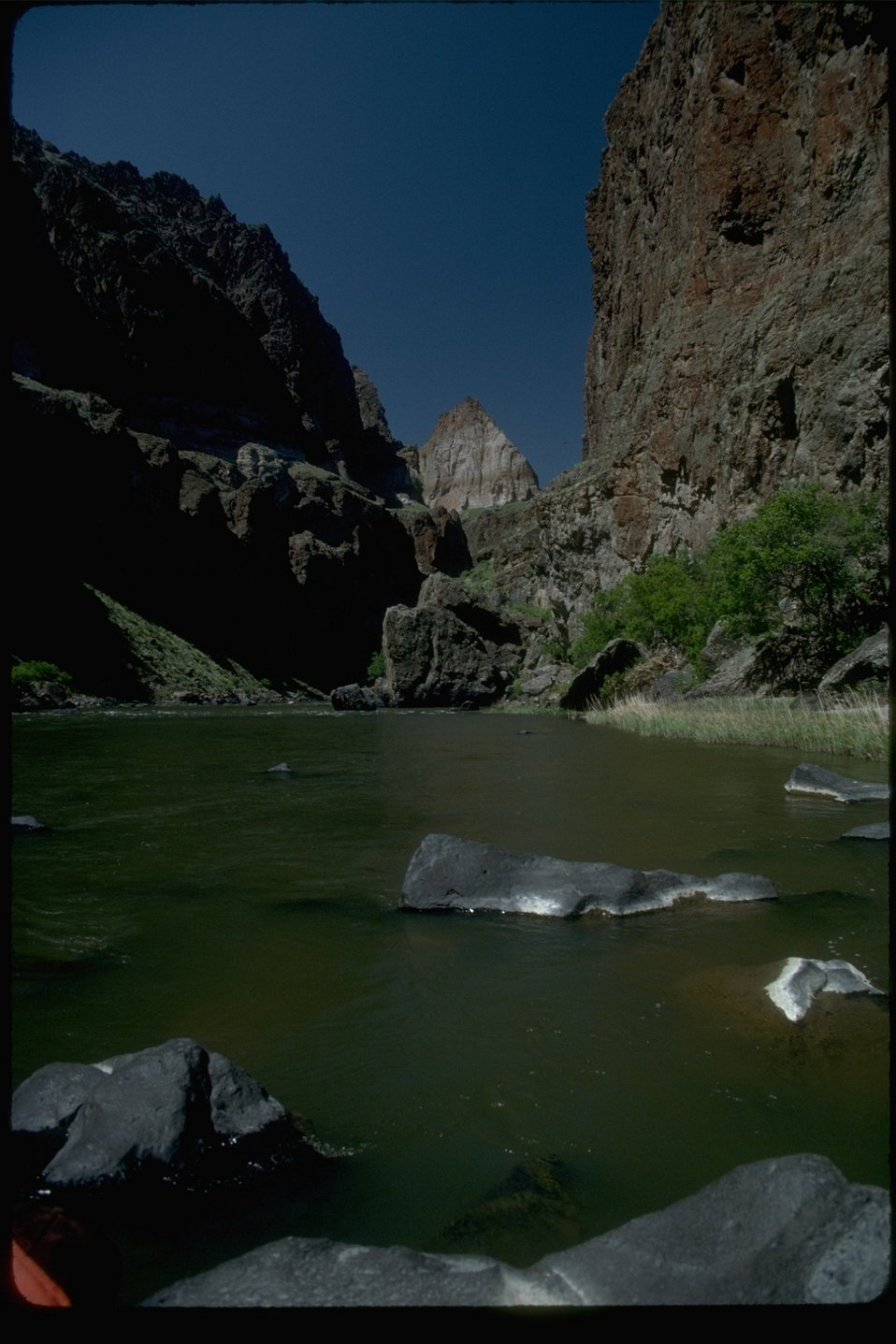 View of Lower Owyhee Canyon at River level.  OR 3-110