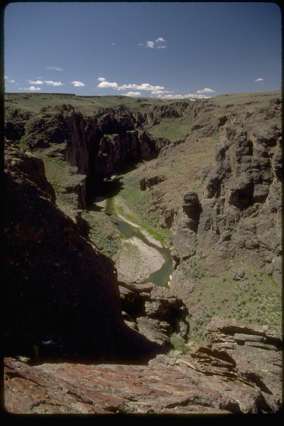 View of river from rim rock in the Upper West Little Owyhee Wilderness Study Area.  OR 3-173