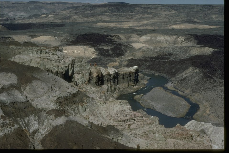 Aerial view of the Owyhee Chalk Basin in the Lower Owyhee Canyon Wilderness Study Area.  OR 3-110