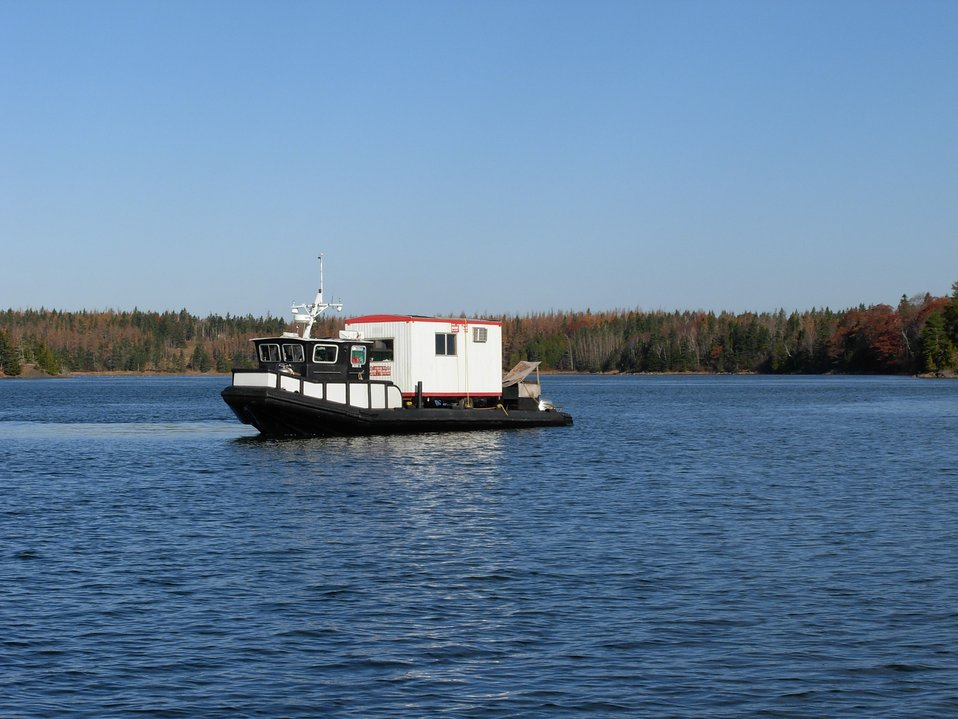 A Corps of Engineers survey vessel in the Passamaquoddy Bay area.