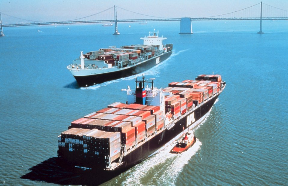 Two containerships passing each other in San Francisco Bay.