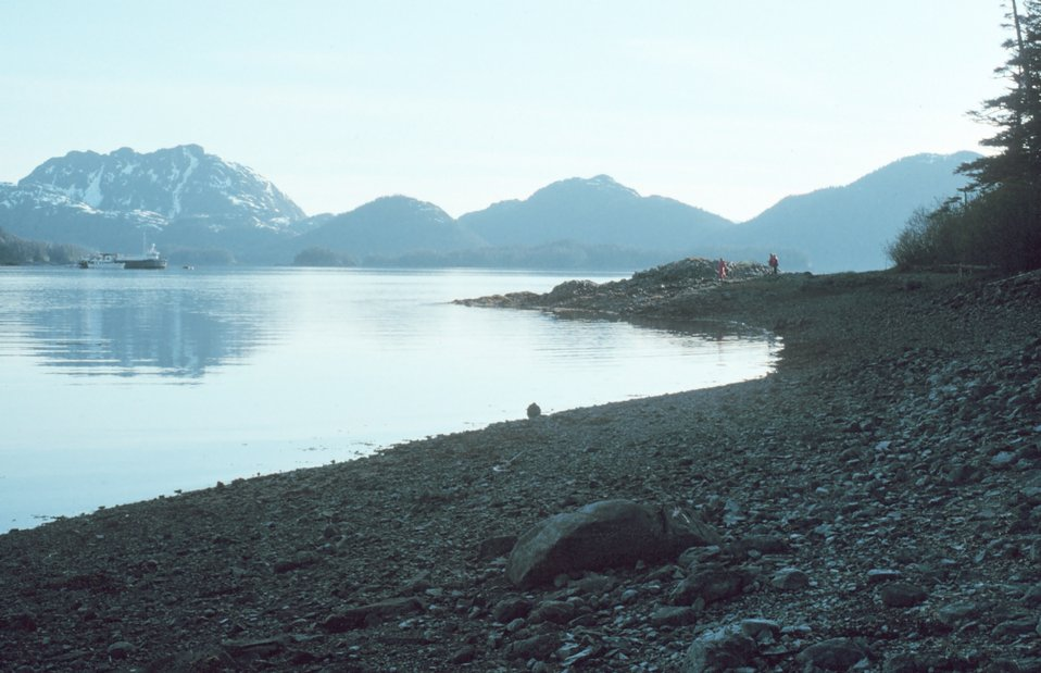 EXXON remedial vessels still working on beaches one year after the EXXON VALDEZ disaster.