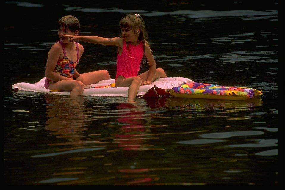 Using floating matresses at Loon Lake.