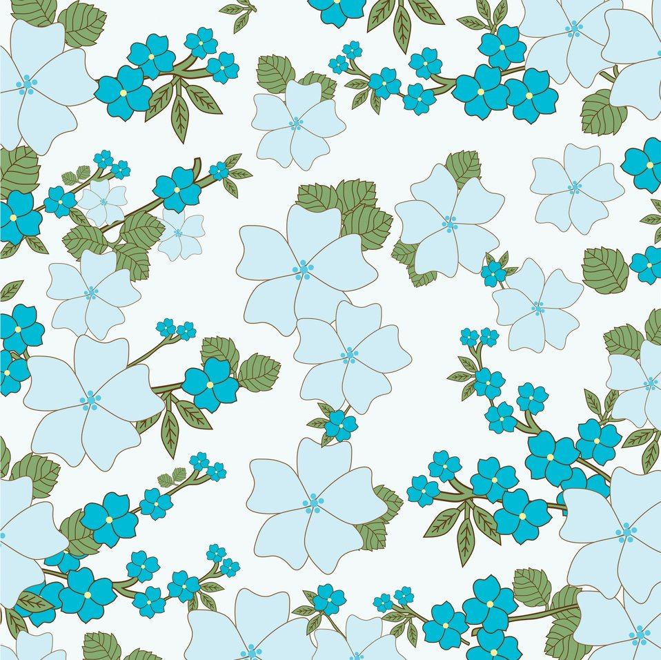 Vintage floral background blue