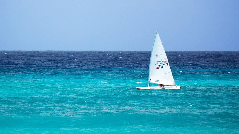 Small yacht at sea