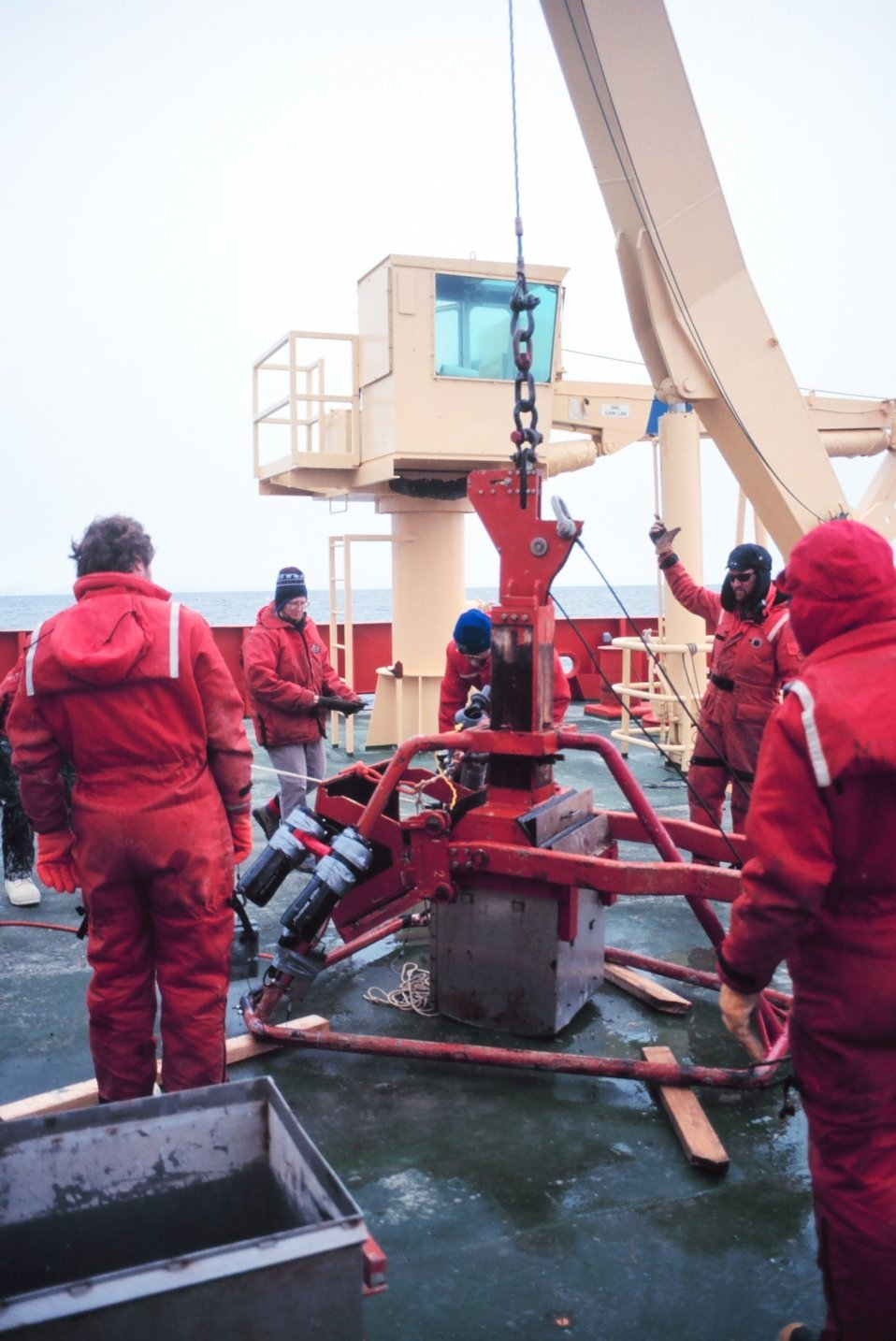 Box coring operations off the fantail of the NATHANIEL B. PALMER.