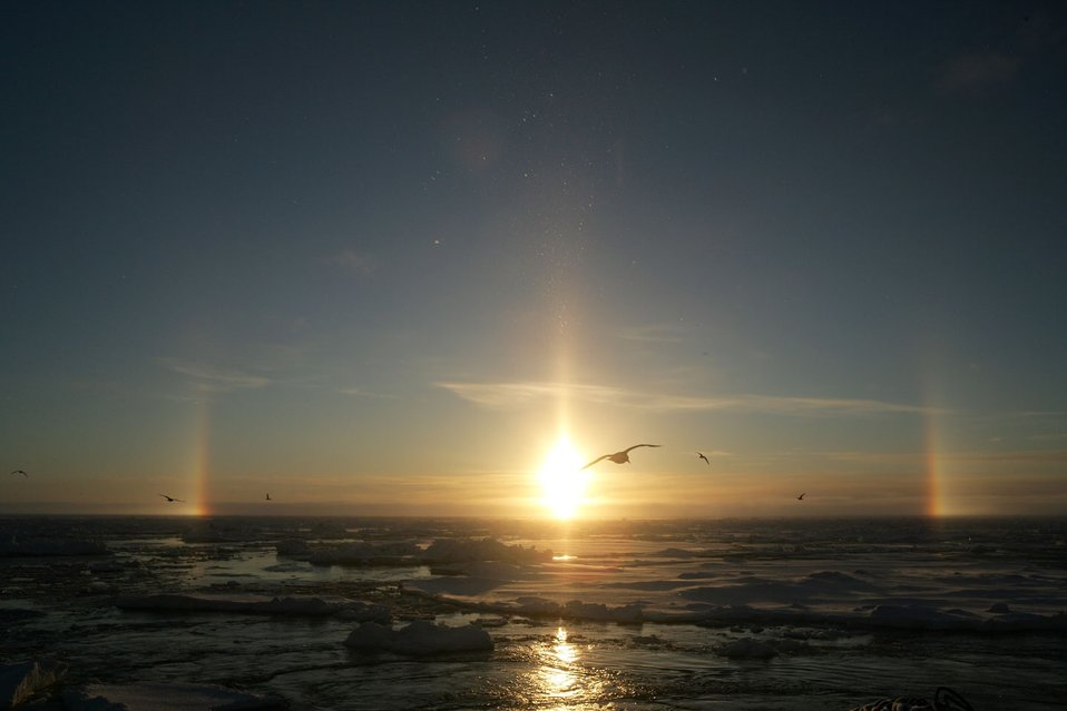 Sun dogs and pillar - atmosphere phenomenom caused by refraction of sunlight through ice crystals in the atmosphere.  See: http://www.naturalsciences.org/education/arctic/