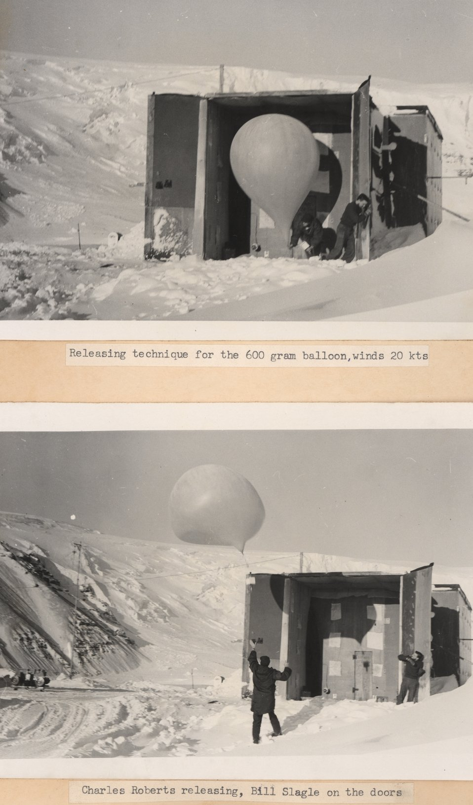 Releasing technique for the 600 gram balloon, winds 20 knowts.  Lower image - Charles Roberts releasing, Bill Slagle on the doors.