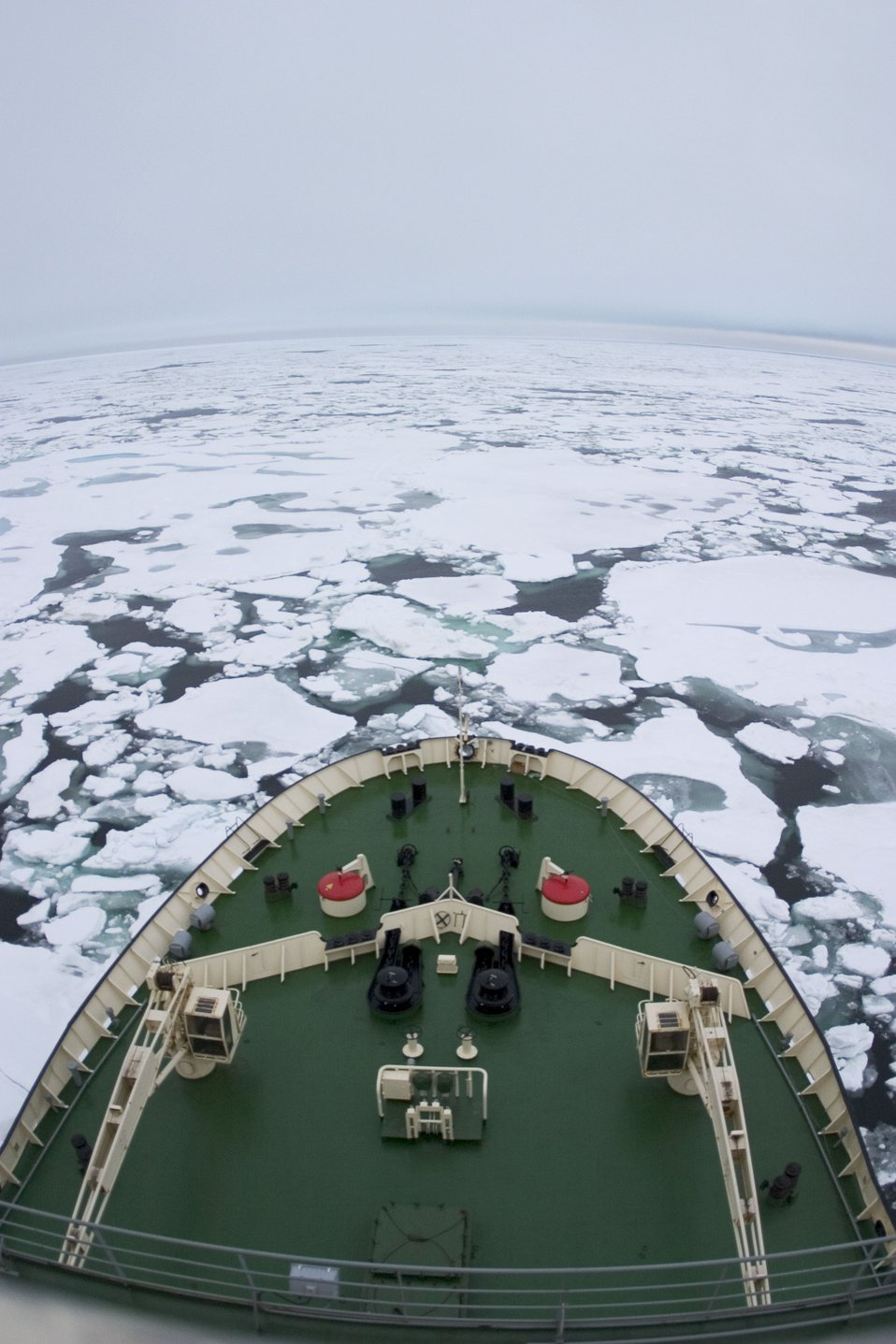 The KAPITAN DRANITSYN encounters its first sea ice during NABOS 2006. See: http://www.naturalsciences.org/education/arctic/