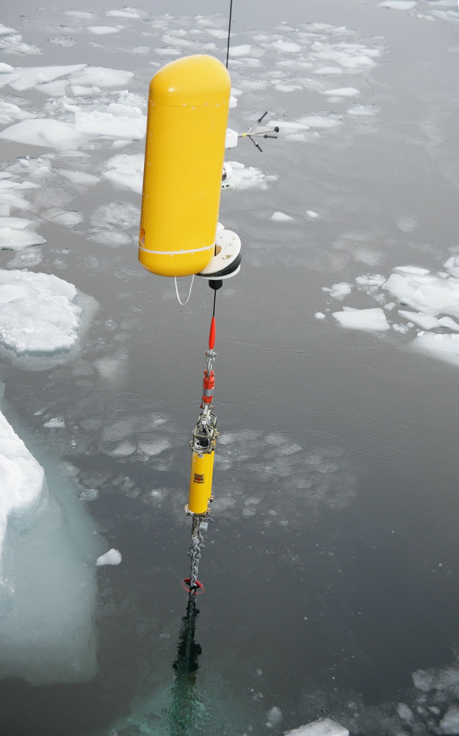 The marine profiling instruments are set up to motor up and down the cable to prescribed depths. Special bumpers are positioned at both ends  of the profile range. See: http://www.naturalsciences.org/education/arctic/