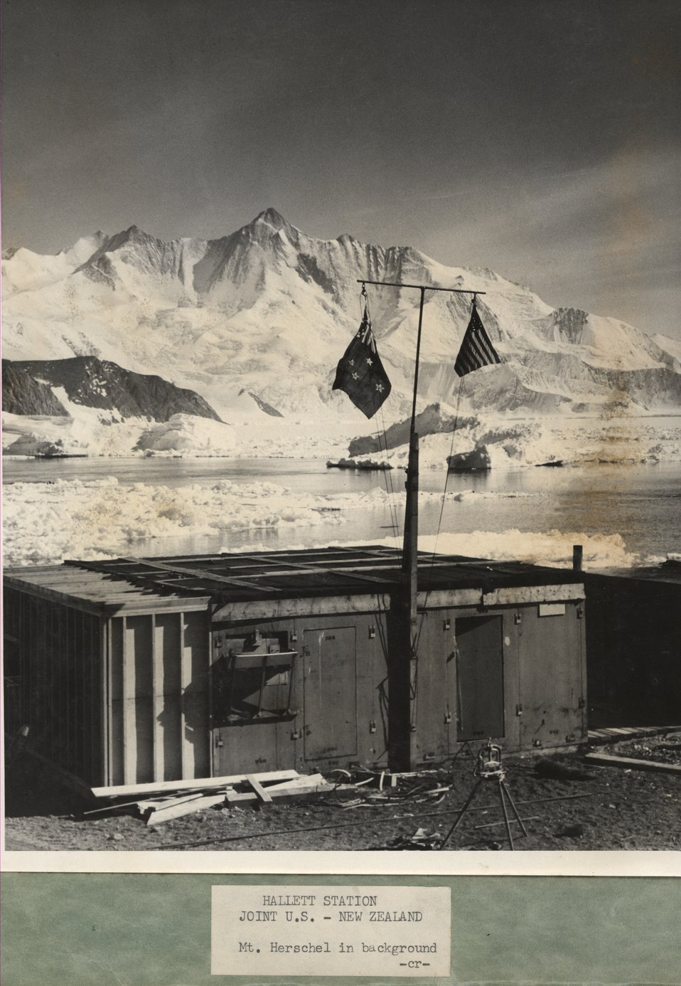 Hallett Station with Mt. Herschel in the background.  Sir Edmund Hillary led an expedition to climb Mt. Herschel in the 1967-1968 summer season.