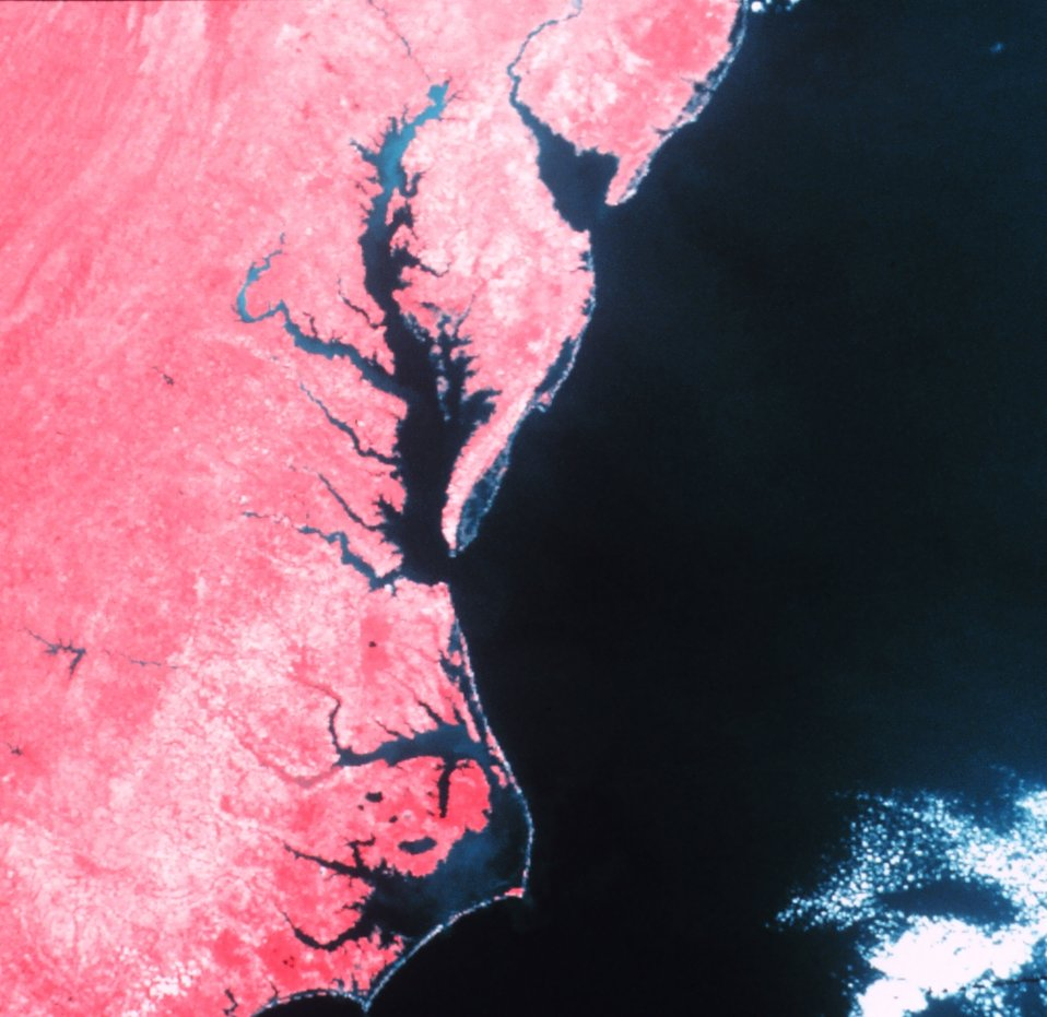 Cape Hatteras, Chesapeake Bay, and Delaware Bay as observed from a NOAA satellite with an infra-red sensor.