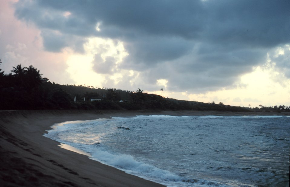 An arcuate beach near the NW corner of Puerto Rico.