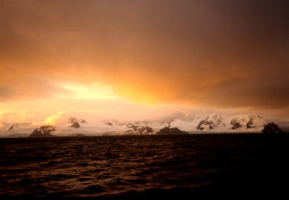 A sunrise in the South Shetland Islands.