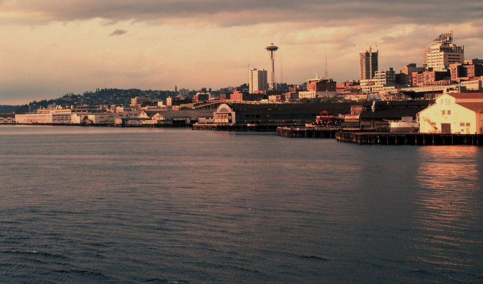The Seattle skyline from the waterfront.