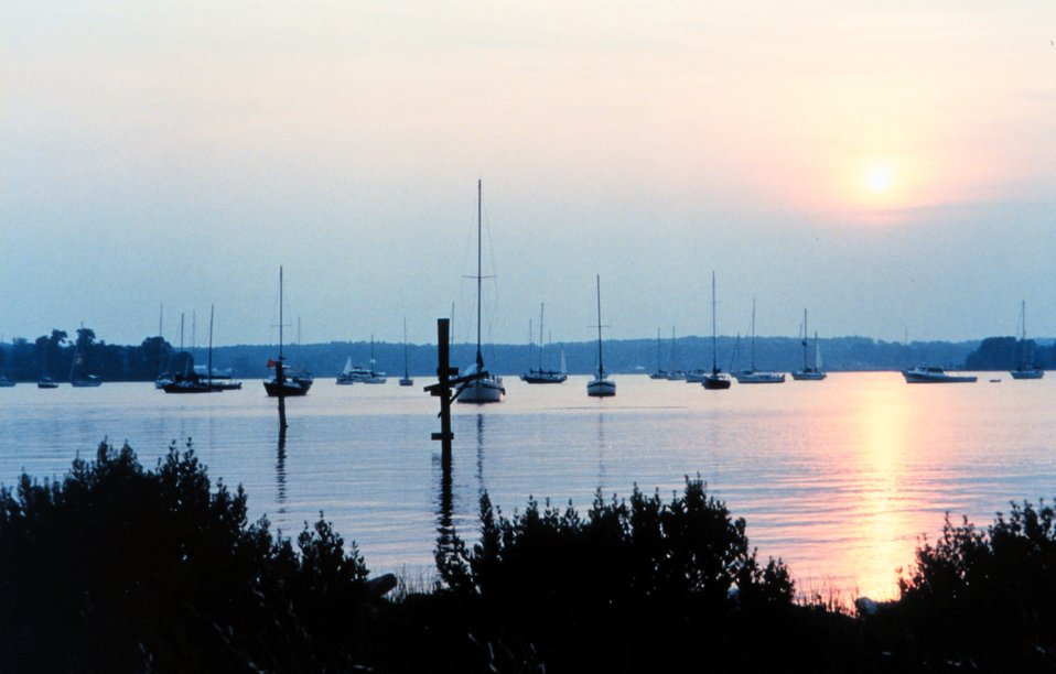 Sun setting over the St. Mary's River after the 1999 Governor's Cup sailboat race.