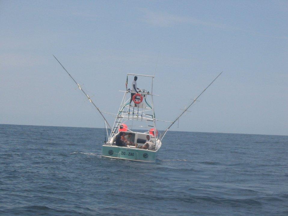 Sport fishermen trolling