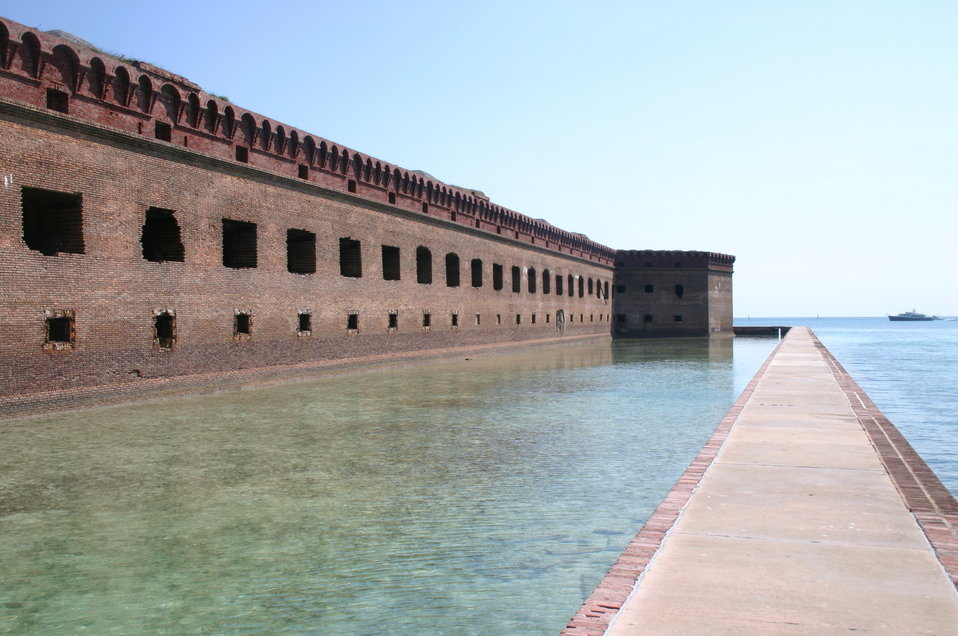 A view of the moat surrounding portions of Fort Jefferson.