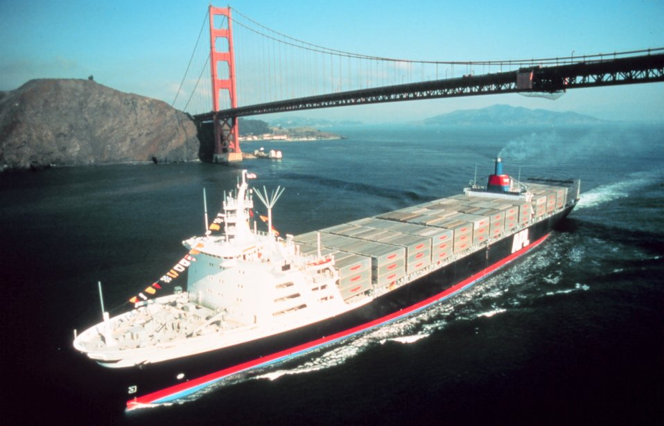 Containership outward bound under the Golden Gate Bridge.