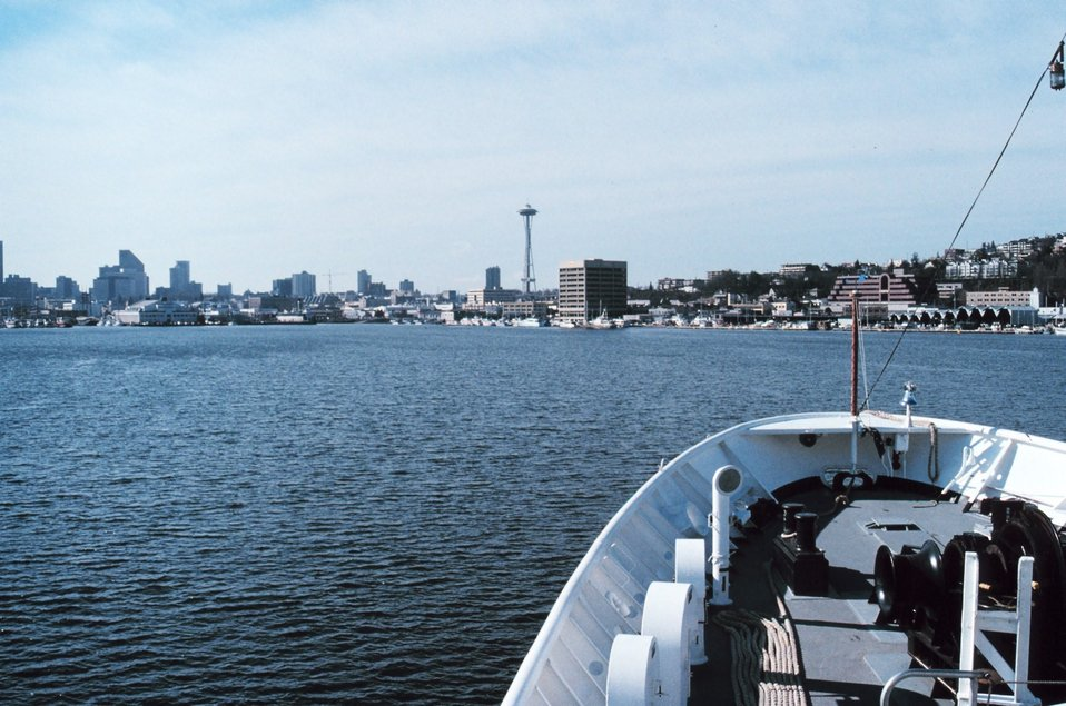 The Seattle space needle from the bow of the NOAA Ship RAINIER