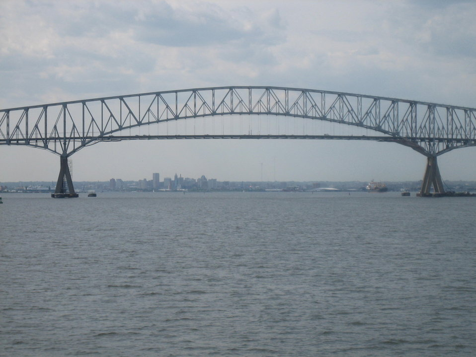 The I-695 Francis Scott Key Bridge spanning Baltimore Harbor.