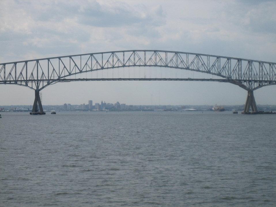 The I-695 Francis Scott Key Bridge spanning Baltimore Harbor.