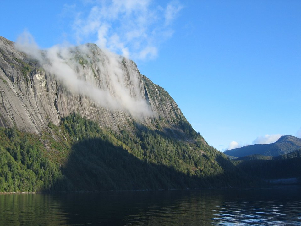 Mist-draped cliffs in the Rudyerd Bay.
