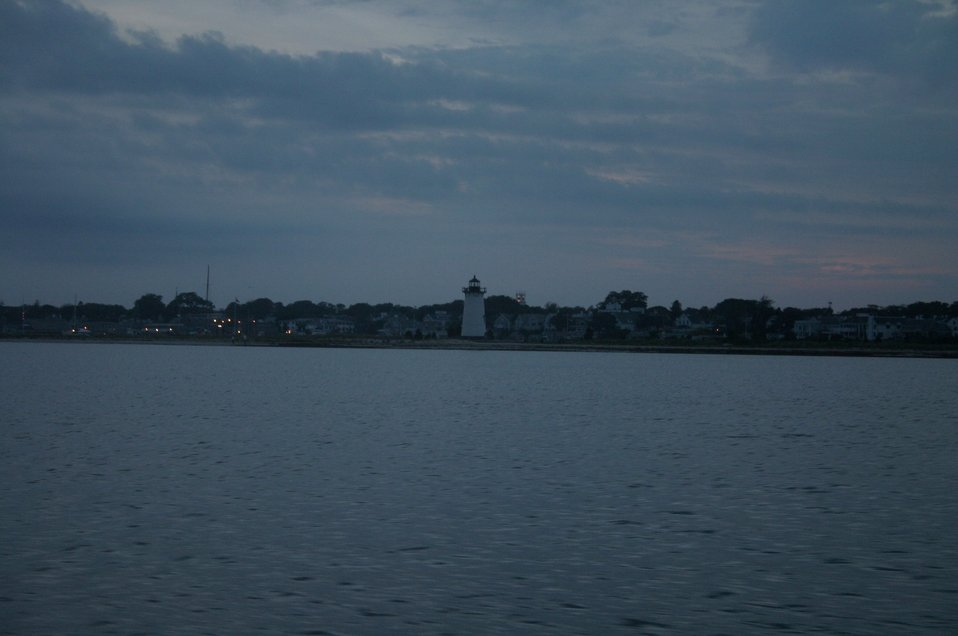 The lighthouse at Edgartown at dusk.