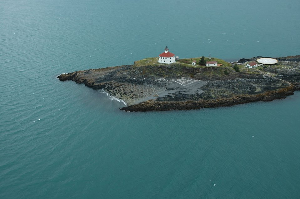 Aerial photograph. Eldred Rock Lighthouse.