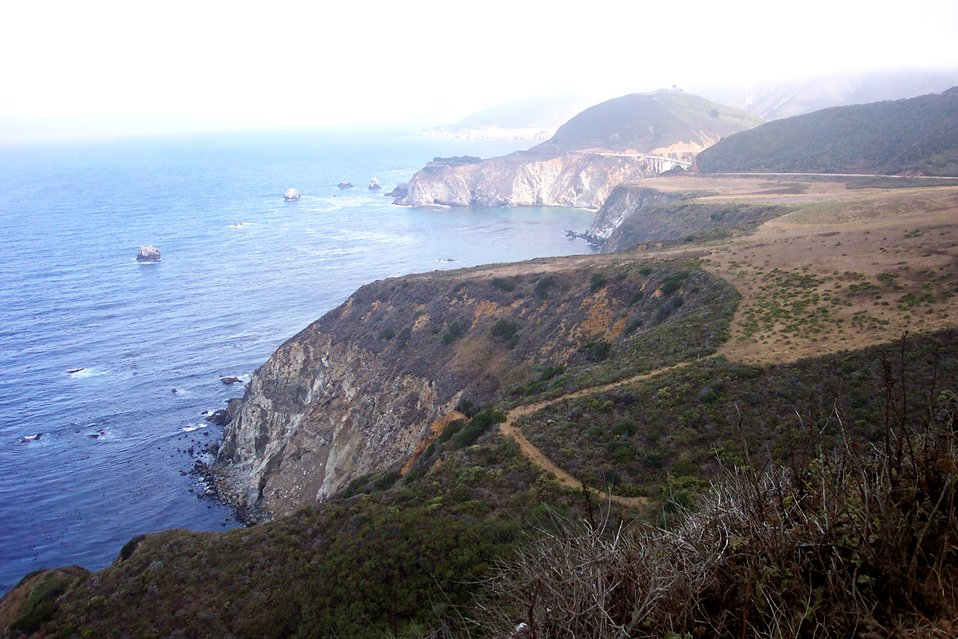 Looking north along the Big Sur coastline toward the Bixby Canyon Bridge.