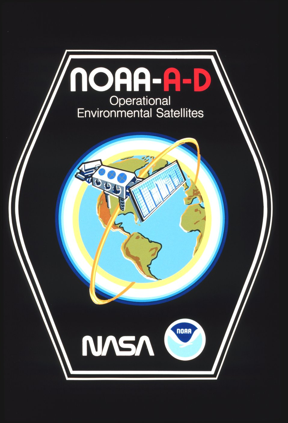 Graphic of briefcase sticker art lauding NOAA A-D, the first of the TIROS-N polar-orbiting satellites.  Only NOAA-A and NOAA-C ultimately became operational .