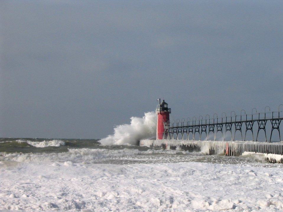 South Haven Lighthouse in a winter storm
