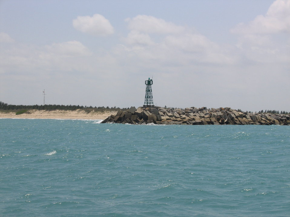 Breakwater beacon off entrance to Tampico Harbor.
