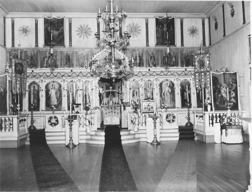 Interior of Russian Orthodox Church at Dutch Harbor.