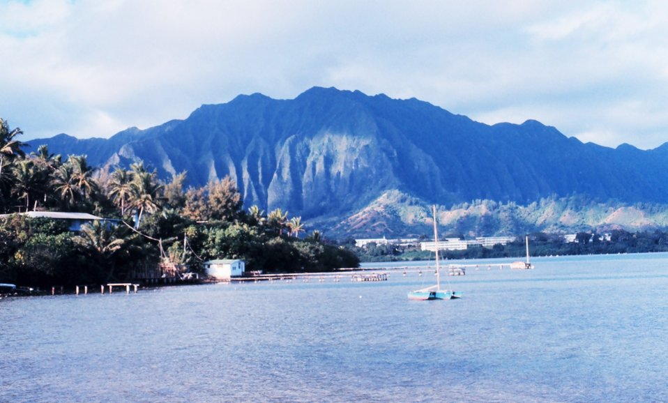 Kaneohe Bay -trimaran tied up at the University of Hawaii Institute of Marine Biology.