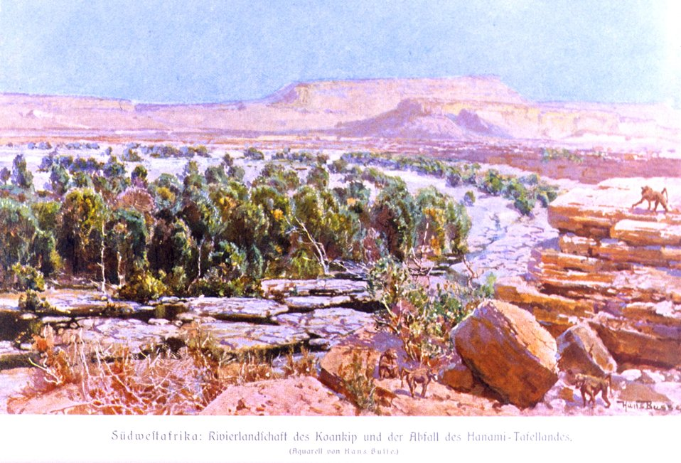 A view of the tablelands of German Southwest Africa. In: 'Das Deutsche Kolonialreich,' by Hans Meyer, 1909.  Vol II, p. 218. Library Call Number: Cfd M612 d