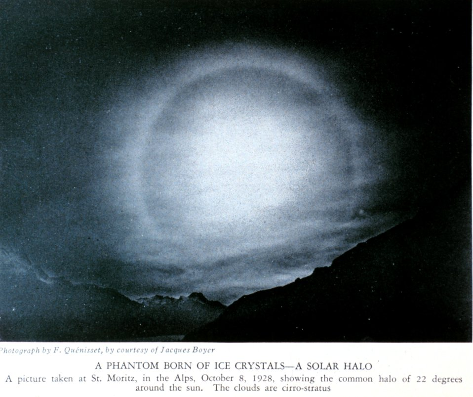 'A Phantom Born of Ice Crystals - A Solar Halo.'  A picture taken at St. Moritz,  in the Alps, October 8, 1928, showing the common halo of 22 degrees around the sun.  the clouds are cirro-stratus. In: 'A Book about the Weather' by Charles F. Talman,