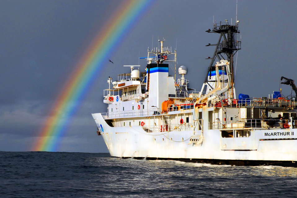 The NOAA Ship McArthur II watches the remnants of Hurricane Henrietta fade into the distance as it conducts research operations 250 miles SW of Manzanillo, Mexico, in support of NMFS SWFSC Stenella Abundance Research Project Line Transect and Ecosystem (