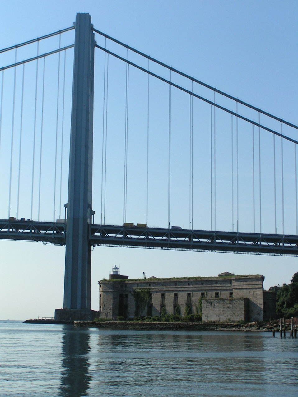 The west pier of the Verrazano-Narrows Bridge with Fort Wadsworth in the foreground.